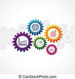 iconos de negocios en la rueda de engranaje