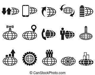 iconos de negocios globales negros establecidos