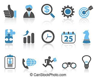 Iconos de negocios listos, serie azul