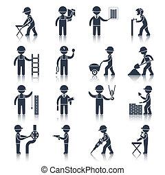 iconos de obrero negro