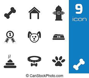 iconos de perro negro Vector