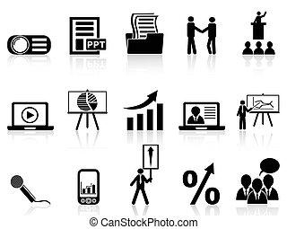iconos de presentación de negocios listos