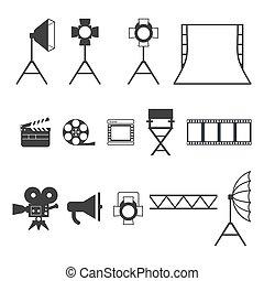 iconos de producción de video