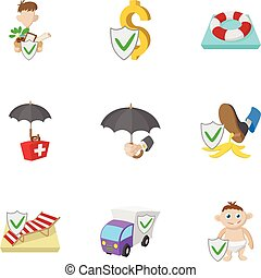 Iconos de protección, estilo de dibujos animados