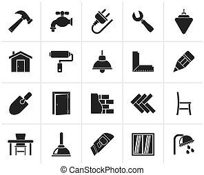 iconos de renovación de edificios y casas