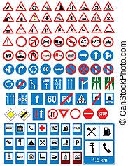 iconos de señales de camino. Signos de tráfico. Ve