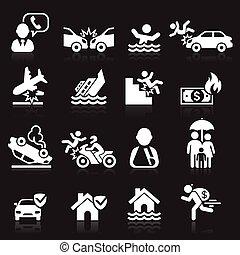 Iconos de seguros listos. Ilustración de vectores.