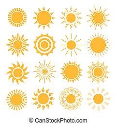 iconos de sol naranja