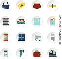 Iconos de supermercado, estilo plano