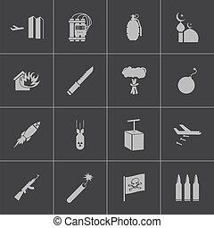 iconos de terrorismo negro Vector establecido