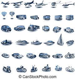 iconos de transporte azul