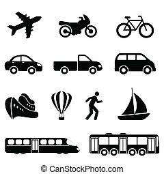 iconos de transporte en negro