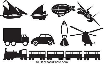iconos de transporte negro contra fondo blanco
