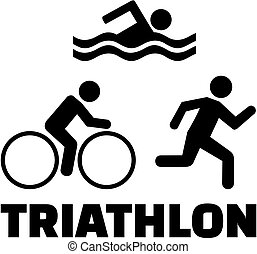 iconos de triatlón con palabra