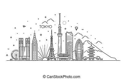 iconos de vacaciones de Tokio. Iconos Vector listos