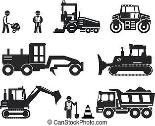 Iconos de vector negro de construcción de carreteras