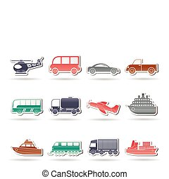 iconos de viaje y transporte
