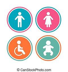iconos de WC. Señales humanas o femeninas.