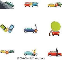Iconos del accidente de coche, estilo de dibujos animados
