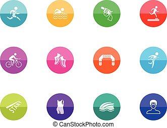 iconos del círculo, triatlón