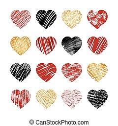 Iconos del corazón dibujados a mano para San Valentín y boda