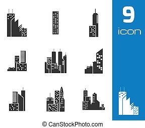 iconos del edificio negro Vector