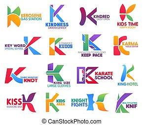 iconos del negocio, k, carta, identidad corporativa