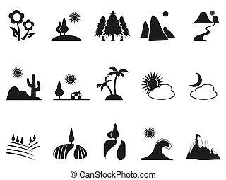 iconos del paisaje negro
