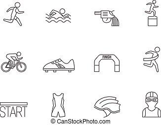 iconos delineados, triatlón