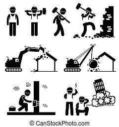 iconos, demoler, demolición, edificio