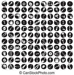 iconos, doodled, herramientas, colección, 121