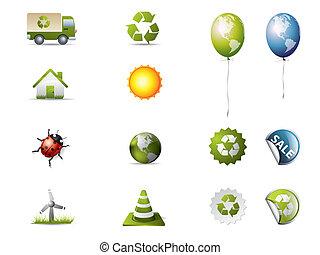 iconos ecológicos aislados en blanco