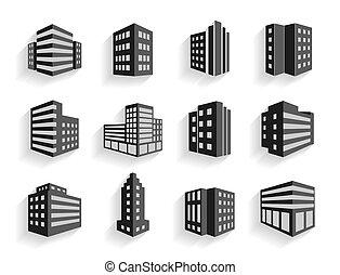 iconos, edificios, dimensional, conjunto