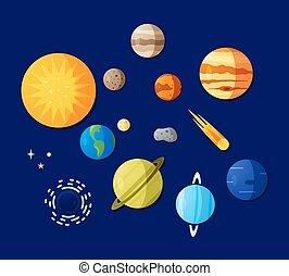 iconos espaciales planos
