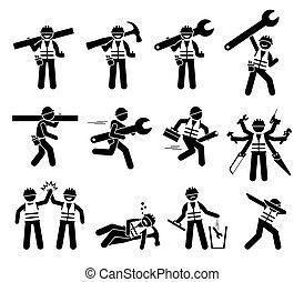 iconos, figuras, construcción, factótum, set., trabajador, palo