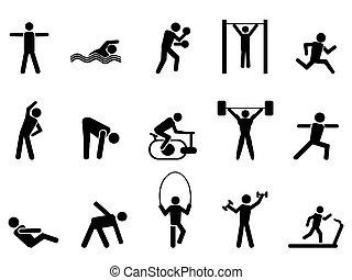 iconos, gente, negro, conjunto, condición física