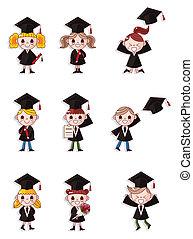 iconos, graduado, conjunto, estudiantes, caricatura