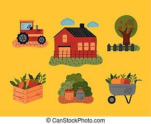 iconos, granja, lío, seis, conjunto, agricultura