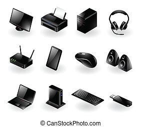 iconos, hardware, mezclado