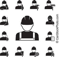 iconos, herramientas, acoplado, diferente, trabajadores