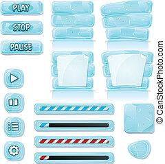 iconos, hielo, vidrio, juego, ui, caricatura