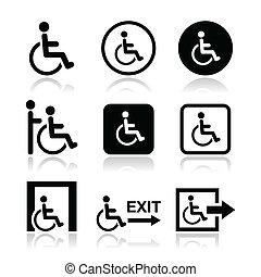 iconos, hombre, incapacitado, sílla de ruedas