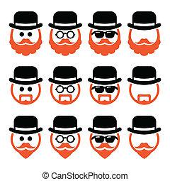 iconos, hombre, sombrero, jengibre, barba