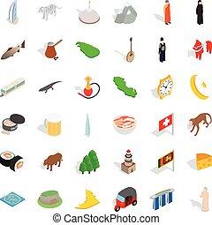 Iconos islámicos establecidos, estilo isométrico