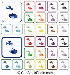 iconos, lavado, mano, color, contorneado, plano