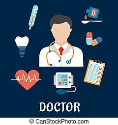 iconos médicos planos con un médico
