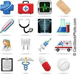 iconos médicos y símbolos vectores colocados en blanco.