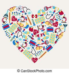 iconos médicos y sanitarios en forma de corazón.