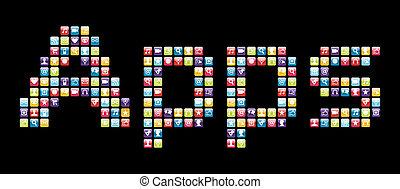 iconos, móvil, apps, teléfono, conjunto, palabra