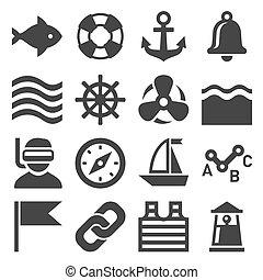 iconos marinos listos. Vector